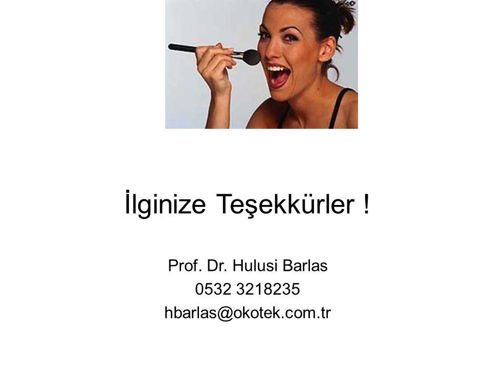 İlginize Teşekkürler ! Prof. Dr. Hulusi Barlas 0532 3218235 hbarlas@okotek.com.tr