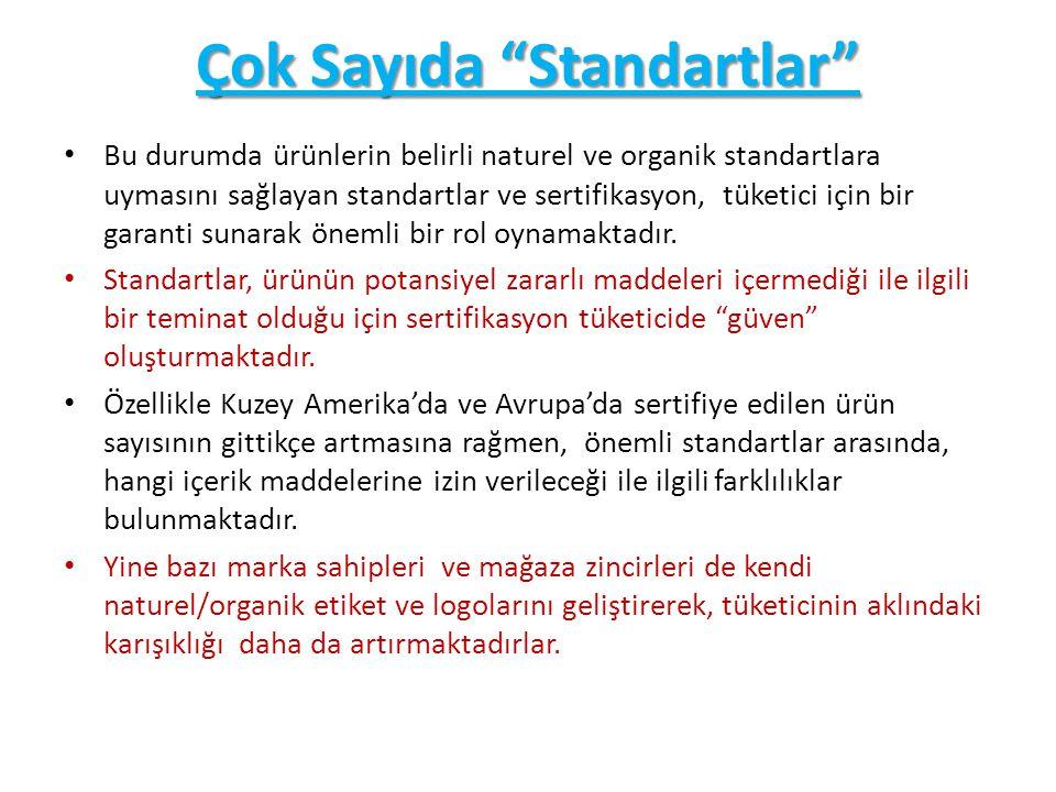"""Çok Sayıda """"Standartlar"""" Bu durumda ürünlerin belirli naturel ve organik standartlara uymasını sağlayan standartlar ve sertifikasyon, tüketici için bi"""