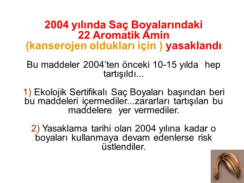 2004 yılında Saç Boyalarındaki 22 Aromatik Amin (kanserojen oldukları için ) yasaklandı Bu maddeler 2004'ten önceki 10-15 yılda hep tartışıldı... 1) E