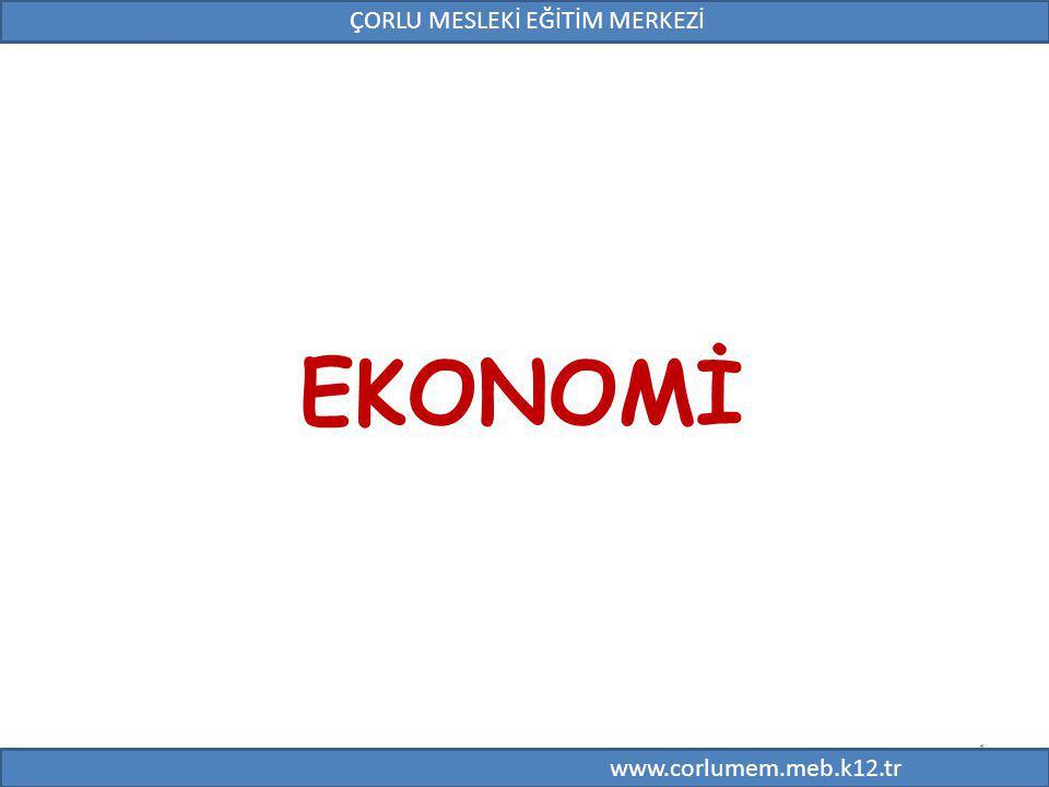 1 EKONOMİ 1 ÇORLU MESLEKİ EĞİTİM MERKEZİ www.corlumem.meb.k12.tr