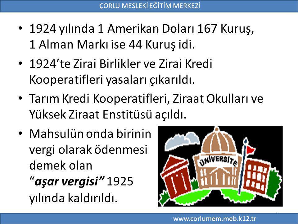 45 1924 yılında 1 Amerikan Doları 167 Kuruş, 1 Alman Markı ise 44 Kuruş idi. 1924'te Zirai Birlikler ve Zirai Kredi Kooperatifleri yasaları çıkarıldı.
