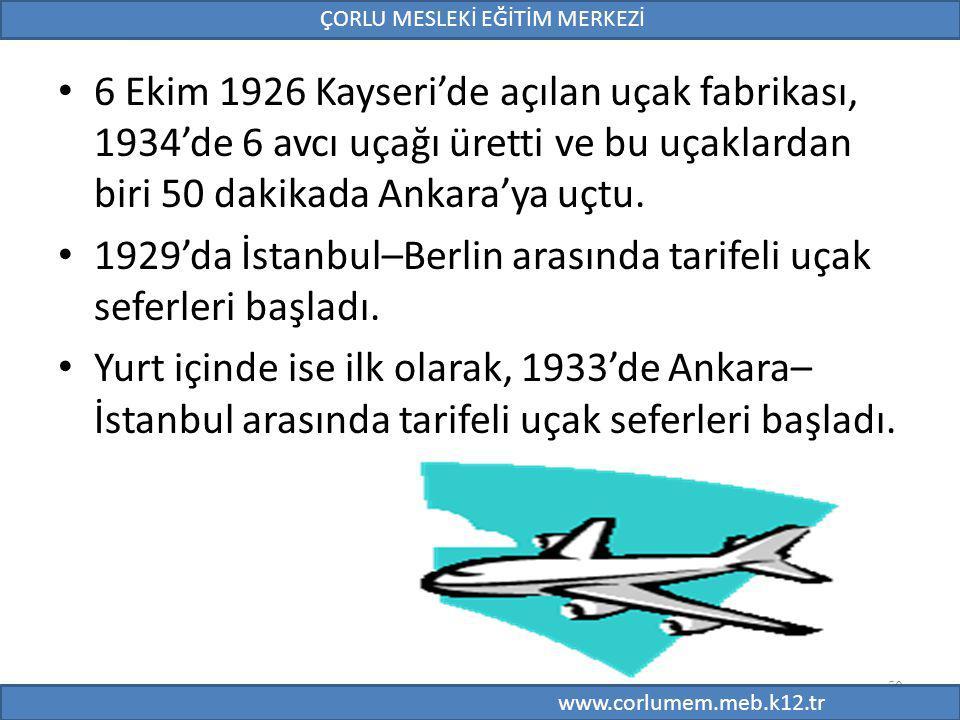 50 6 Ekim 1926 Kayseri'de açılan uçak fabrikası, 1934'de 6 avcı uçağı üretti ve bu uçaklardan biri 50 dakikada Ankara'ya uçtu. 1929'da İstanbul–Berlin