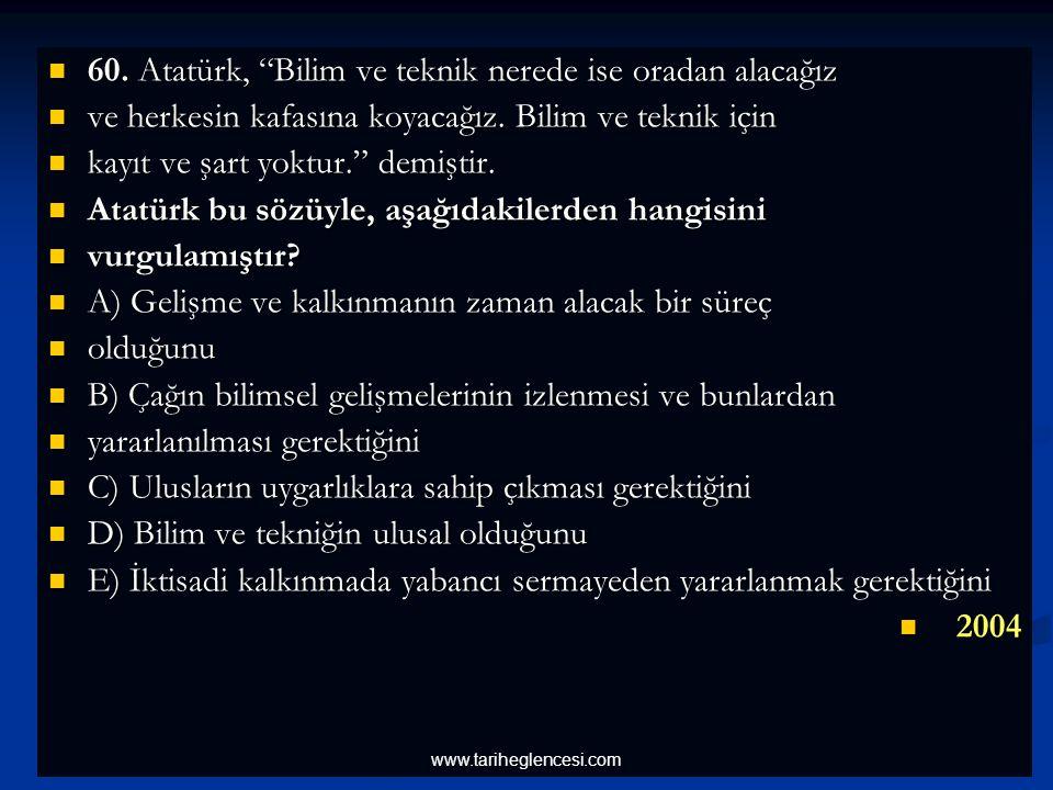 60.Atatürk, Bilim ve teknik nerede ise oradan alacağız 60.