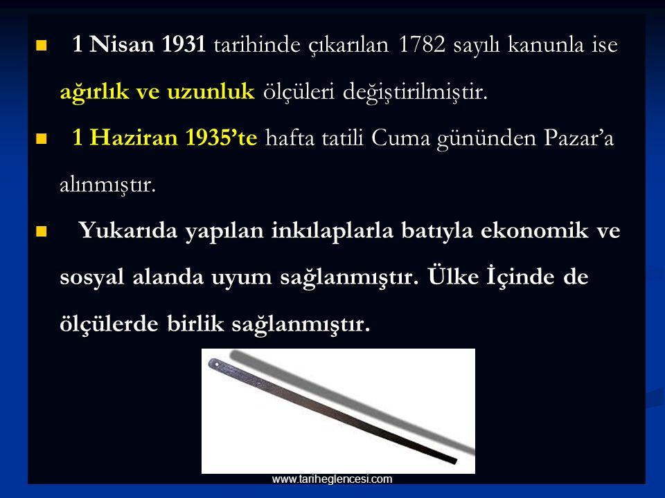 1 Nisan 1931 tarihinde çıkarılan 1782 sayılı kanunla ise ağırlık ve uzunluk ölçüleri değiştirilmiştir.
