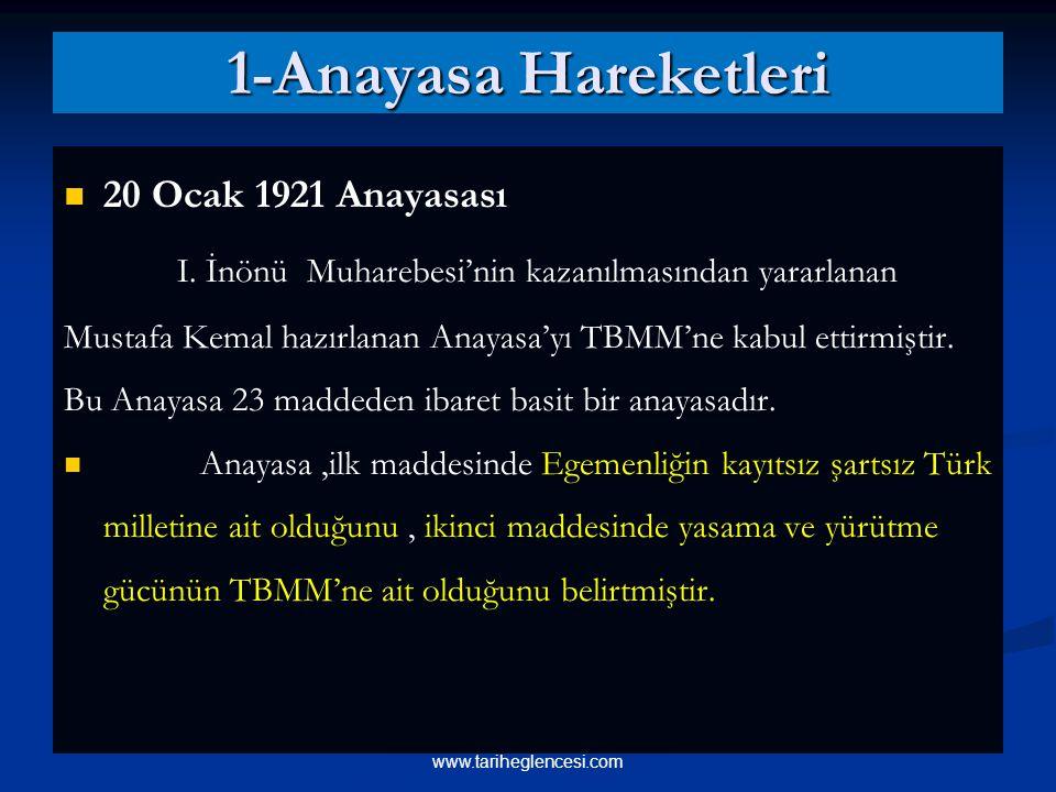 1-Anayasa Hareketleri 20 Ocak 1921 Anayasası I.