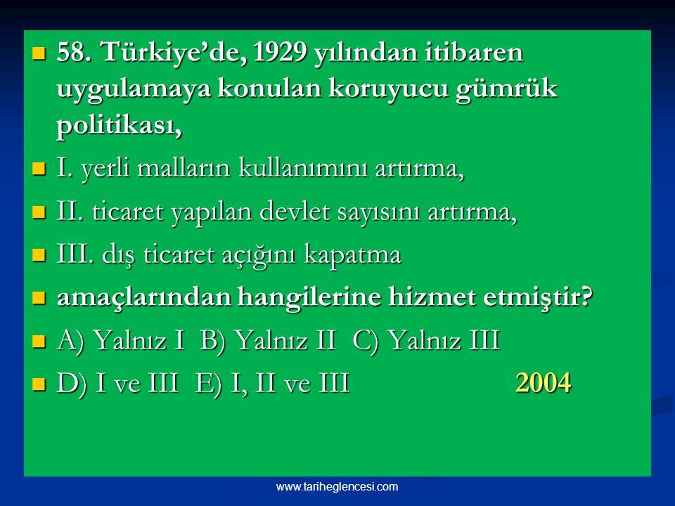 58.Türkiye'de, 1929 yılından itibaren uygulamaya konulan koruyucu gümrük politikası, 58.