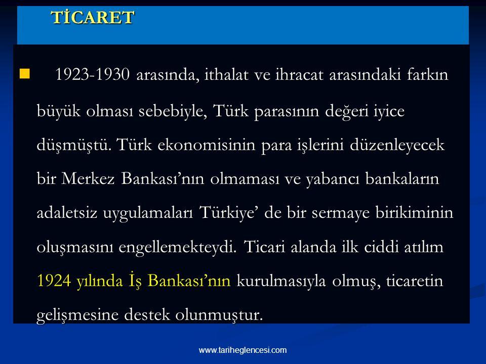 TİCARET TİCARET 1923-1930 arasında, ithalat ve ihracat arasındaki farkın büyük olması sebebiyle, Türk parasının değeri iyice düşmüştü.