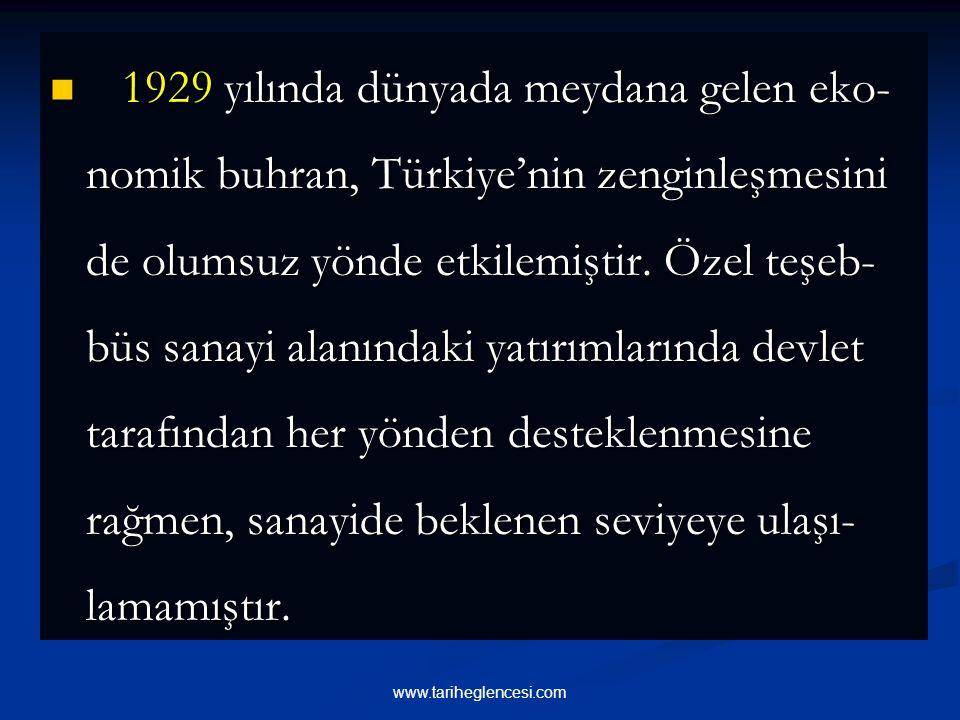 1929 yılında dünyada meydana gelen eko- nomik buhran, Türkiye'nin zenginleşmesini de olumsuz yönde etkilemiştir.