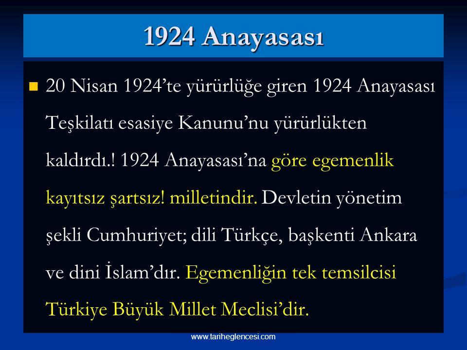 1924 Anayasası 20 Nisan 1924'te yürürlüğe giren 1924 Anayasası Teşkilatı esasiye Kanunu'nu yürürlükten kaldırdı..