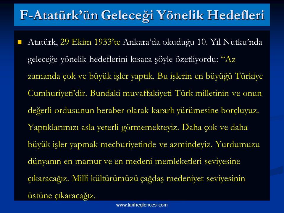 F-Atatürk'ün Geleceği Yönelik Hedefleri Atatürk, 29 Ekim 1933'te Ankara'da okuduğu 10.