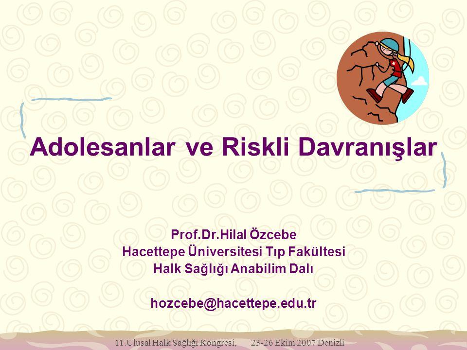11.Ulusal Halk Sağlığı Kongresi, 23-26 Ekim 2007 Denizli Adolesanlar ve Riskli Davranışlar Prof.Dr.Hilal Özcebe Hacettepe Üniversitesi Tıp Fakültesi H
