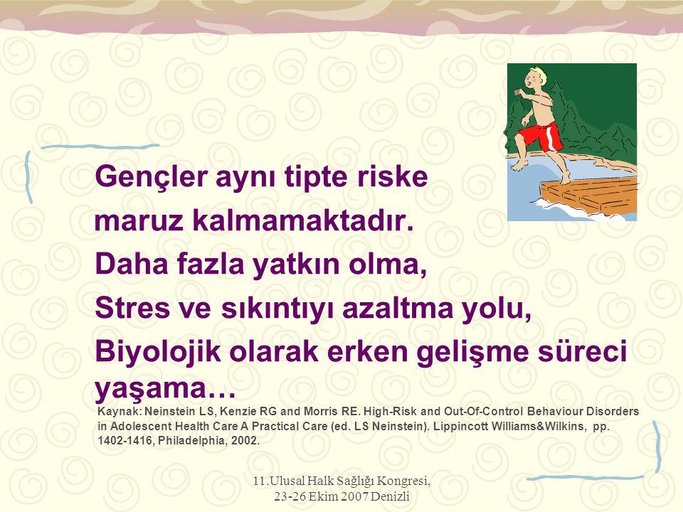 11.Ulusal Halk Sağlığı Kongresi, 23-26 Ekim 2007 Denizli Gençler aynı tipte riske maruz kalmamaktadır. Daha fazla yatkın olma, Stres ve sıkıntıyı azal
