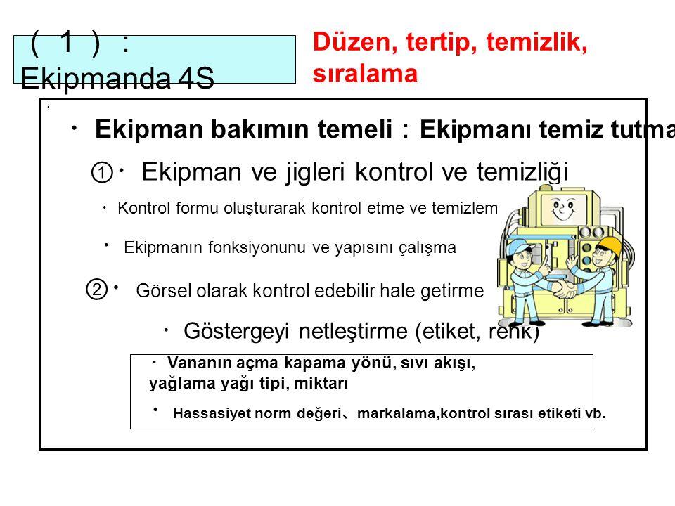 (1): Ekipmanda 4S ・ ①・ Ekipman ve jigleri kontrol ve temizliği ・ Ekipman bakımın temeli : Ekipmanı temiz tutma ・ Kontrol formu oluşturarak kontrol etme ve temizleme ・ Ekipmanın fonksiyonunu ve yapısını çalışma ②・ Görsel olarak kontrol edebilir hale getirme ・ Göstergeyi netleştirme (etiket, renk) ・ Vananın açma kapama yönü, sıvı akışı, yağlama yağı tipi, miktarı ・ Hassasiyet norm değeri 、 markalama,kontrol sırası etiketi vb.