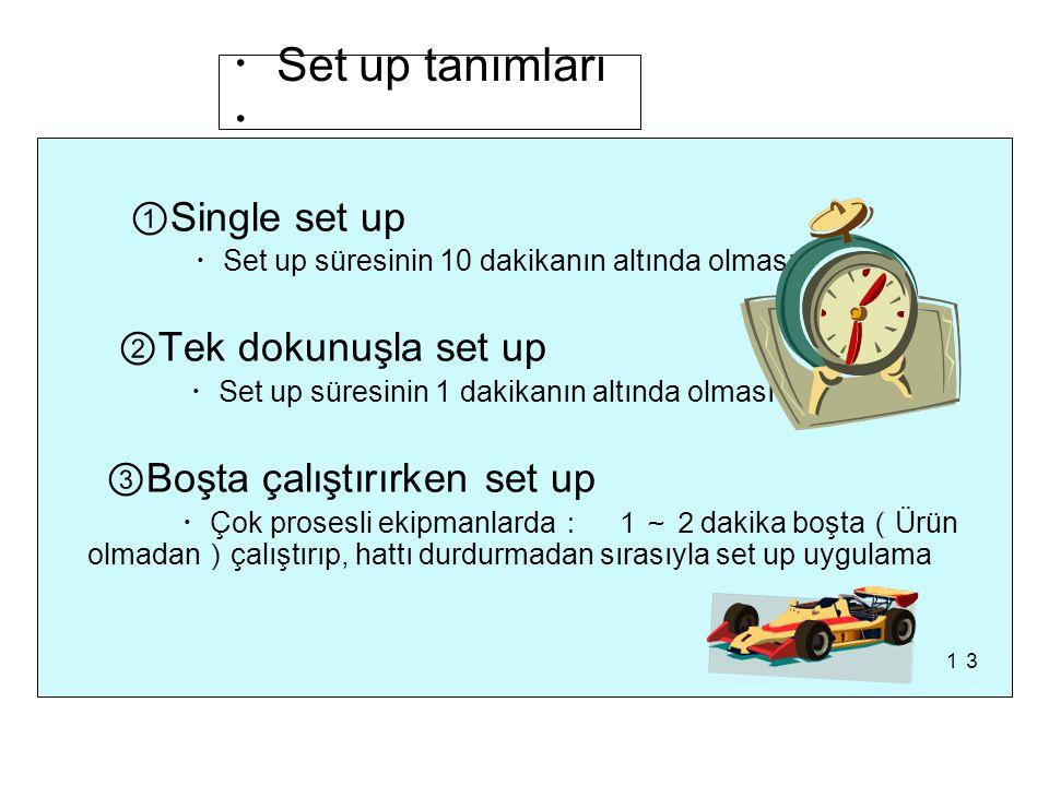 ・ Set up tanımları ・ ① Single set up ・ Set up süresinin 10 dakikanın altında olması ② Tek dokunuşla set up ・ Set up süresinin 1 dakikanın altında olması ③ Boşta çalıştırırken set up ・ Çok prosesli ekipmanlarda : 1~2 dakika boşta ( Ürün olmadan ) çalıştırıp, hattı durdurmadan sırasıyla set up uygulama 13