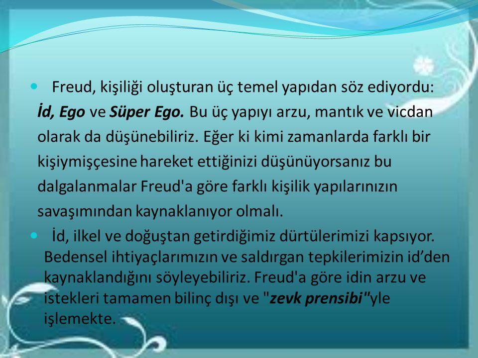 Freud, kişiliği oluşturan üç temel yapıdan söz ediyordu: İd, Ego ve Süper Ego. Bu üç yapıyı arzu, mantık ve vicdan olarak da düşünebiliriz. Eğer ki ki