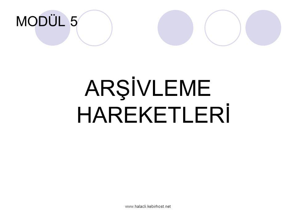 www.halacli.kebirhost.net MODÜL 5 ARŞİVLEME HAREKETLERİ