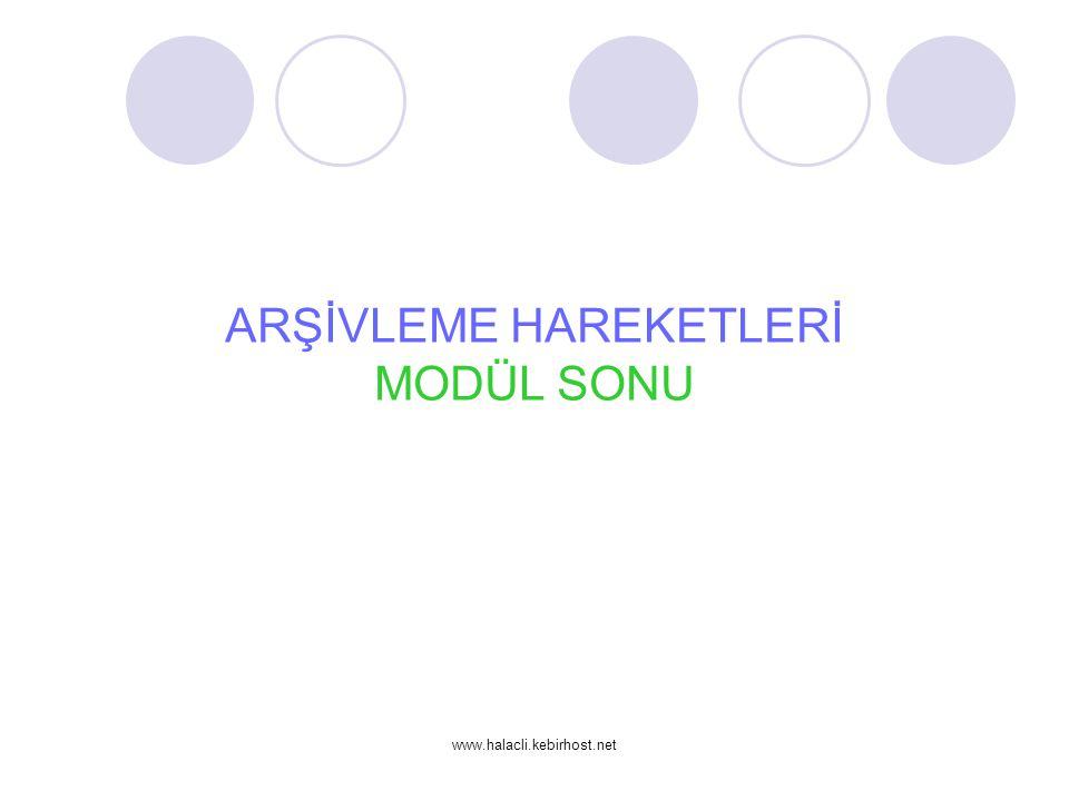 www.halacli.kebirhost.net ARŞİVLEME HAREKETLERİ MODÜL SONU
