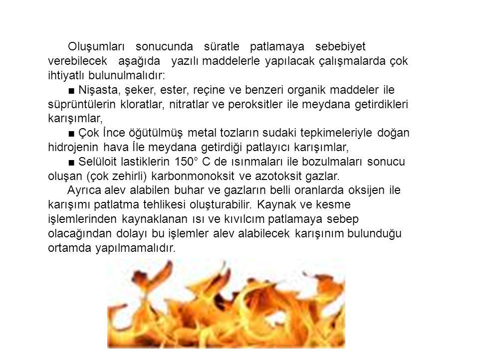 Oluşumları sonucunda süratle patlamaya sebebiyet verebilecek aşağıda yazılı maddelerle yapılacak çalışmalarda çok ihtiyatlı bulunulmalıdır: ■ Nişasta,