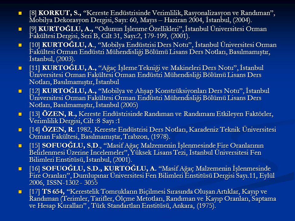 """[8] KORKUT, S., """"Kereste Endüstrisinde Verimlilik, Rasyonalizasyon ve Randıman"""", Mobilya Dekorasyon Dergisi, Sayı: 60, Mayıs – Haziran 2004, İstanbul,"""