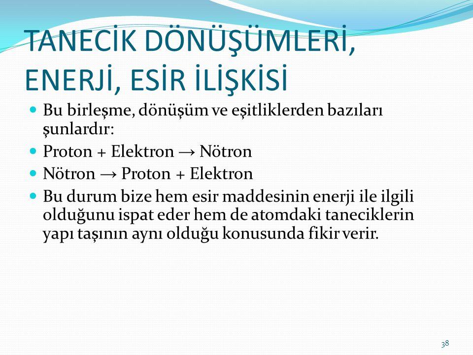 TANECİK DÖNÜŞÜMLERİ, ENERJİ, ESİR İLİŞKİSİ Bu birleşme, dönüşüm ve eşitliklerden bazıları şunlardır: Proton + Elektron → Nötron Nötron → Proton + Elek