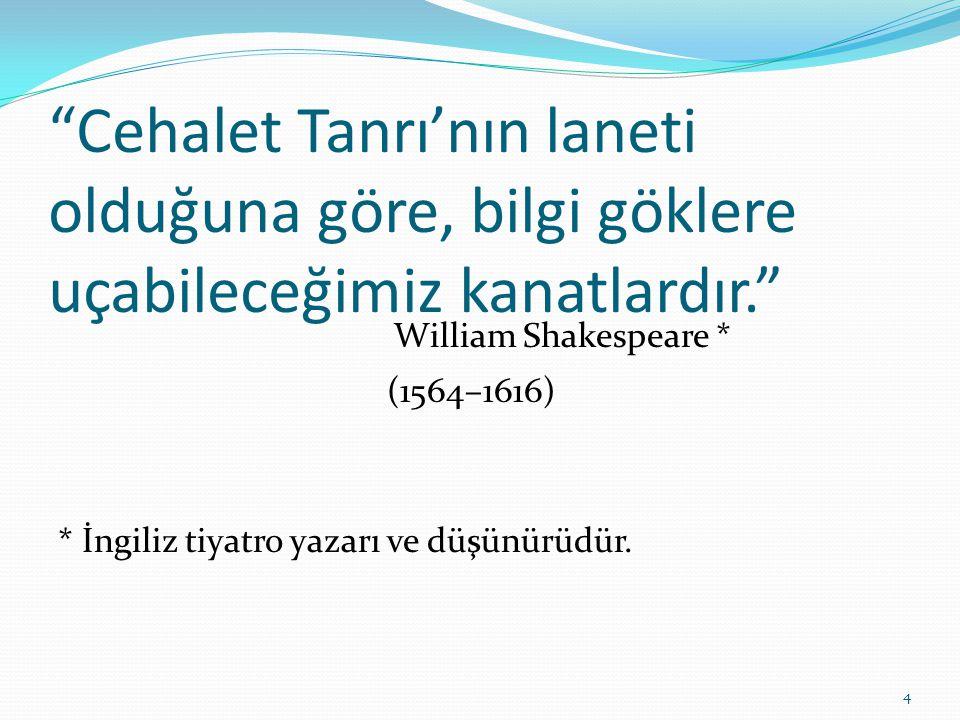 """""""Cehalet Tanrı'nın laneti olduğuna göre, bilgi göklere uçabileceğimiz kanatlardır."""" William Shakespeare * (1564–1616) * İngiliz tiyatro yazarı ve düşü"""