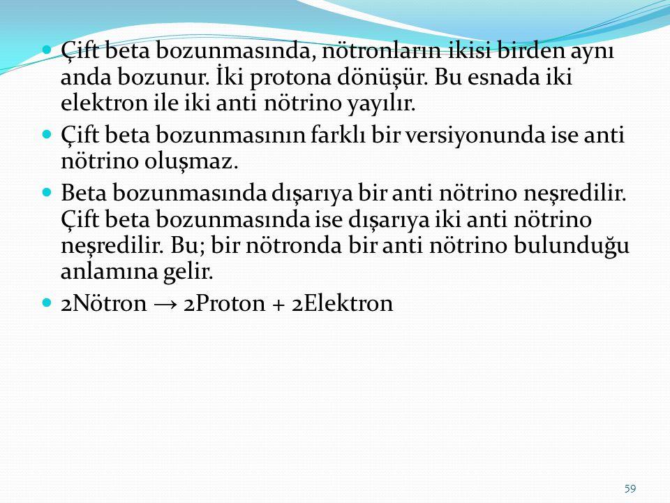 Çift beta bozunmasında, nötronların ikisi birden aynı anda bozunur. İki protona dönüşür. Bu esnada iki elektron ile iki anti nötrino yayılır. Çift bet