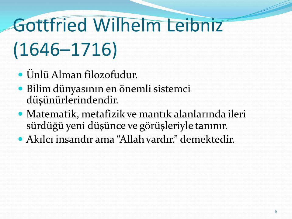 Gottfried Wilhelm Leibniz (1646–1716) Ünlü Alman filozofudur. Bilim dünyasının en önemli sistemci düşünürlerindendir. Matematik, metafizik ve mantık a