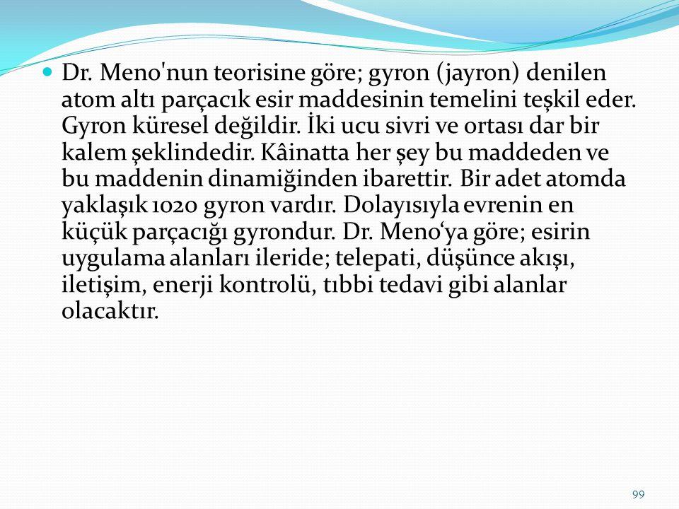 Dr. Meno'nun teorisine göre; gyron (jayron) denilen atom altı parçacık esir maddesinin temelini teşkil eder. Gyron küresel değildir. İki ucu sivri ve