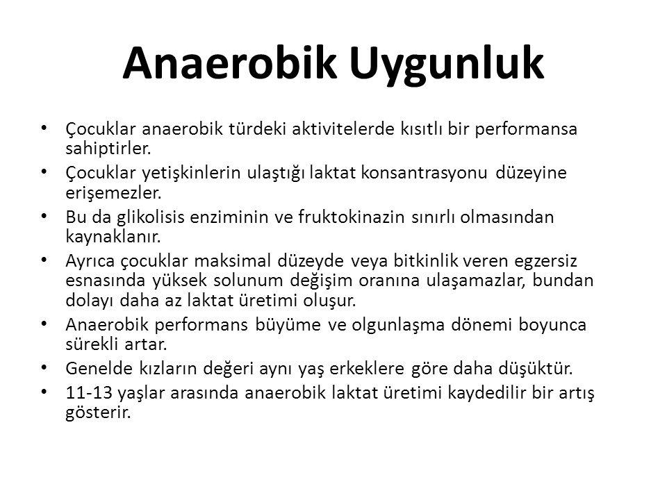 Anaerobik Uygunluk Çocuklar anaerobik türdeki aktivitelerde kısıtlı bir performansa sahiptirler. Çocuklar yetişkinlerin ulaştığı laktat konsantrasyonu