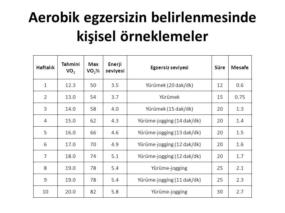 Aerobik egzersizin belirlenmesinde kişisel örneklemeler Haftalık Tahmini VO 2 Max VO 2 % Enerji seviyesi Egzersiz seviyesiSüreMesafe 112.3503.5Yürümek