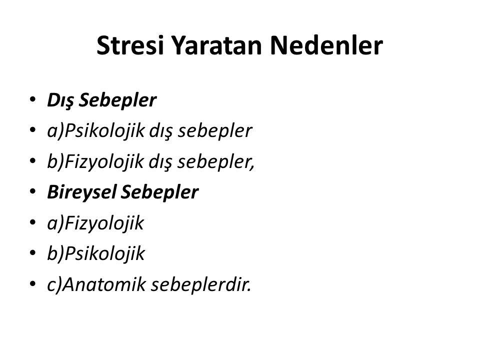 Stresi Yaratan Nedenler Dış Sebepler a)Psikolojik dış sebepler b)Fizyolojik dış sebepler, Bireysel Sebepler a)Fizyolojik b)Psikolojik c)Anatomik sebep