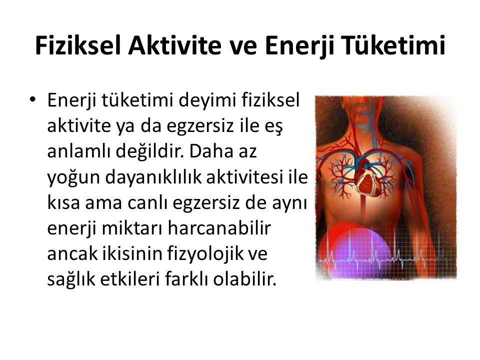Fiziksel Aktivite ve Enerji Tüketimi Enerji tüketimi deyimi fiziksel aktivite ya da egzersiz ile eş anlamlı değildir. Daha az yoğun dayanıklılık aktiv