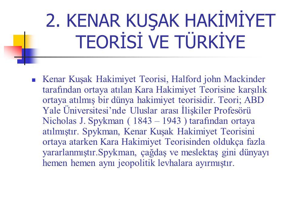 2. KENAR KUŞAK HAKİMİYET TEORİSİ VE TÜRKİYE Kenar Kuşak Hakimiyet Teorisi, Halford john Mackinder tarafından ortaya atılan Kara Hakimiyet Teorisine ka