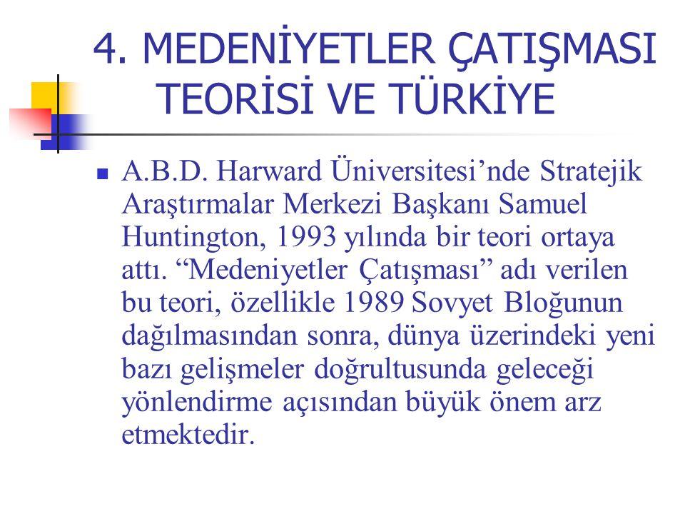 4. MEDENİYETLER ÇATIŞMASI TEORİSİ VE TÜRKİYE A.B.D. Harward Üniversitesi'nde Stratejik Araştırmalar Merkezi Başkanı Samuel Huntington, 1993 yılında bi