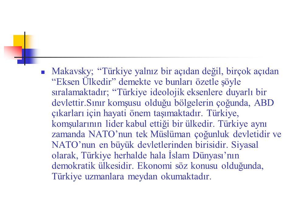 """Makavsky; """"Türkiye yalnız bir açıdan değil, birçok açıdan """"Eksen Ülkedir"""" demekte ve bunları özetle şöyle sıralamaktadır; """"Türkiye ideolojik eksenlere"""