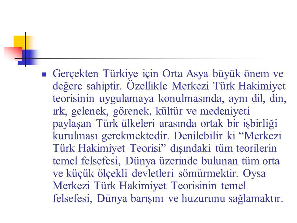 Gerçekten Türkiye için Orta Asya büyük önem ve değere sahiptir. Özellikle Merkezi Türk Hakimiyet teorisinin uygulamaya konulmasında, aynı dil, din, ır