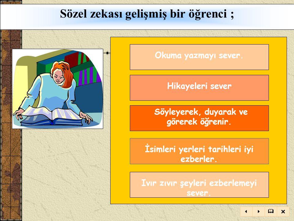 TANIM: Sözcükler zekâsı ya da bir dilin temel işlemlerini açıkça kullanabilme yeteneğidir. Okuma, yazma, dinleme ve konuşma ile iletişim sağlayarak, b