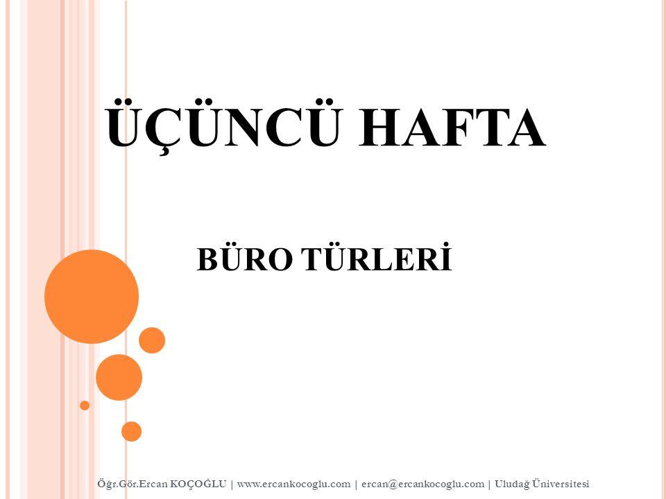 ÜÇÜNCÜ HAFTA BÜRO TÜRLERİ Öğr.Gör.Ercan KOÇOĞLU   www.ercankocoglu.com   ercan@ercankocoglu.com   Uludağ Üniversitesi