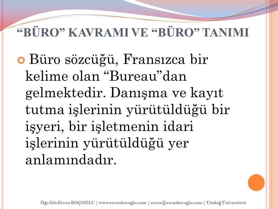 BÜRO KAVRAMI VE BÜRO TANIMI Öğr.Gör.Ercan KOÇOĞLU | www.ercankocoglu.com | ercan@ercankocoglu.com | Uludağ Üniversitesi