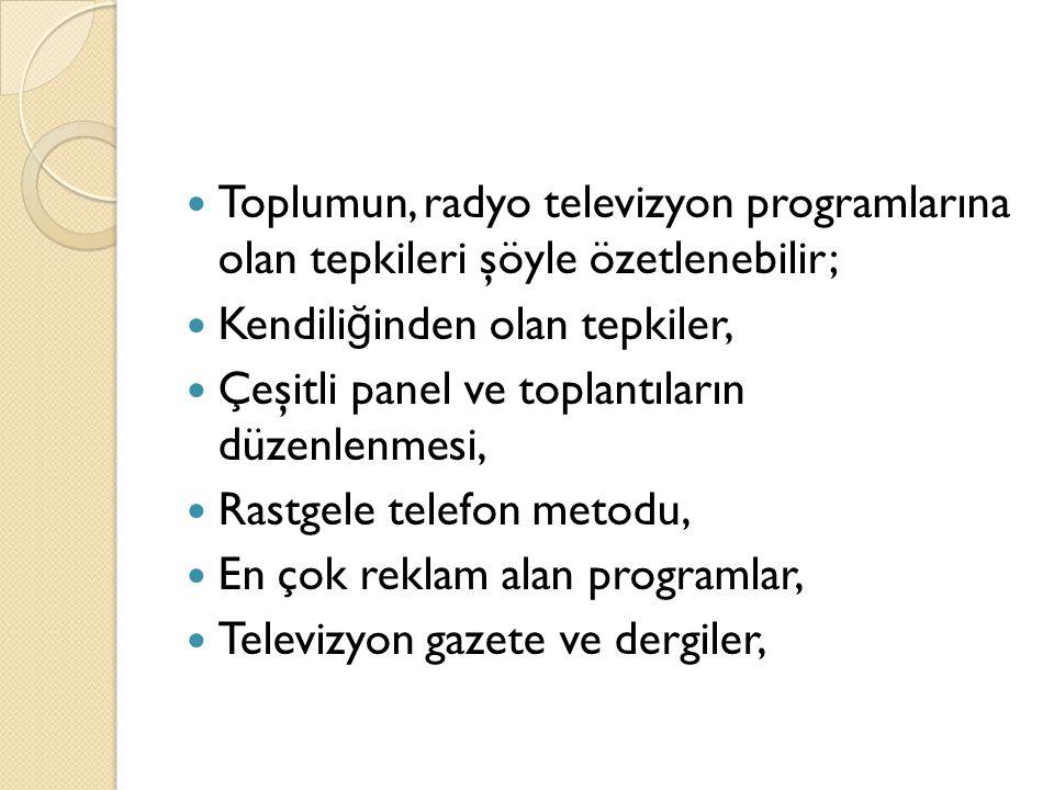Toplumun, radyo televizyon programlarına olan tepkileri şöyle özetlenebilir; Kendili ğ inden olan tepkiler, Çeşitli panel ve toplantıların düzenlenmes