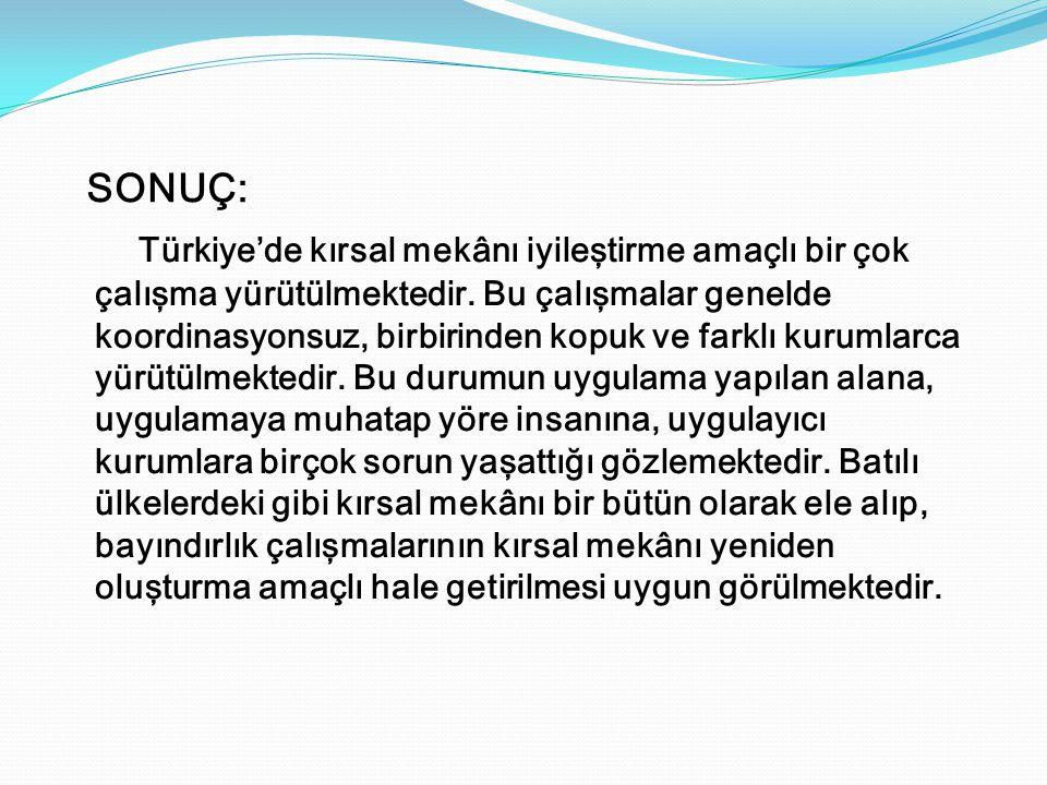 Türkiye'de kırsal mekânı iyileştirme amaçlı bir çok çalışma yürütülmektedir. Bu çalışmalar genelde koordinasyonsuz, birbirinden kopuk ve farklı kuruml