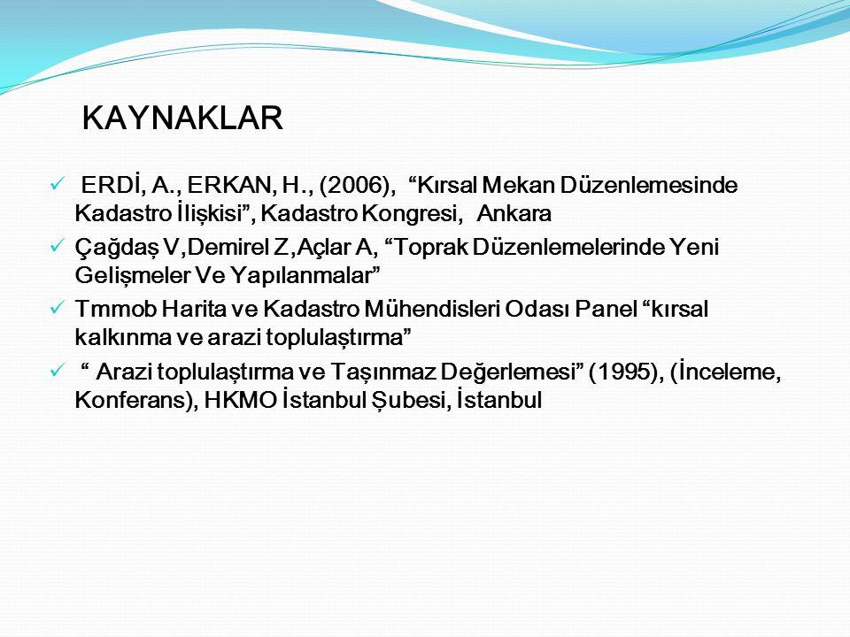"""ERDİ, A., ERKAN, H., (2006), """"Kırsal Mekan Düzenlemesinde Kadastro İlişkisi"""", Kadastro Kongresi, Ankara Çağdaş V,Demirel Z,Açlar A, """"Toprak Düzenlemel"""