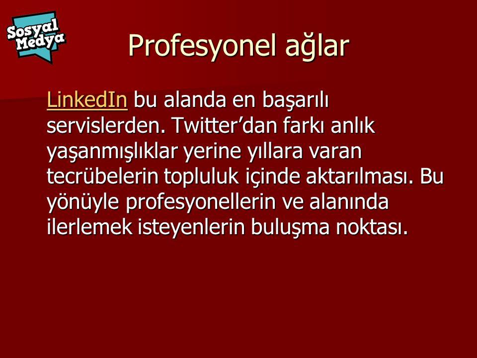 Profesyonel ağlar LinkedInLinkedIn bu alanda en başarılı servislerden.