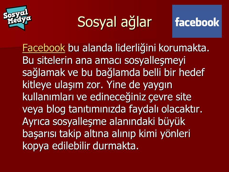 Sosyal ağlar FacebookFacebook bu alanda liderliğini korumakta.