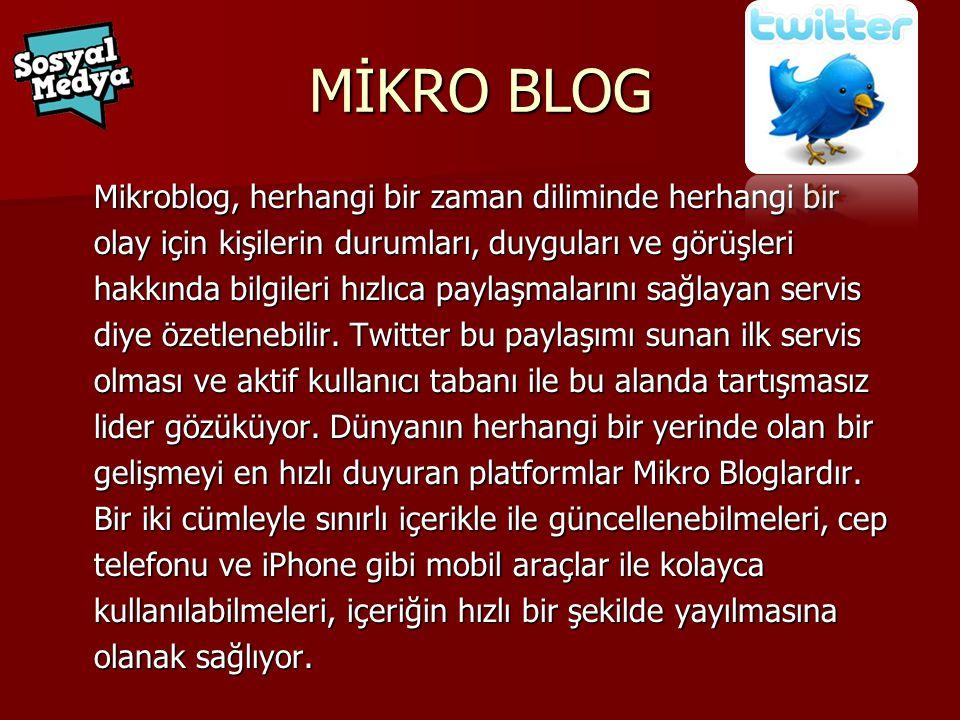 MİKRO BLOG Mikroblog, herhangi bir zaman diliminde herhangi bir olay için kişilerin durumları, duyguları ve görüşleri hakkında bilgileri hızlıca paylaşmalarını sağlayan servis diye özetlenebilir.