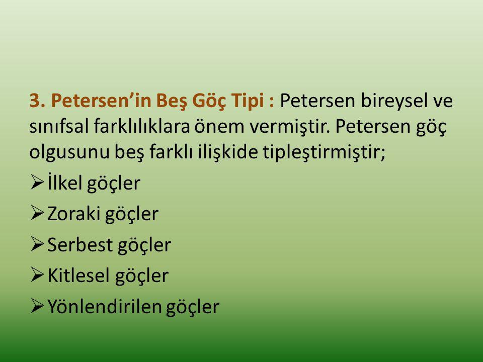 3.Petersen'in Beş Göç Tipi : Petersen bireysel ve sınıfsal farklılıklara önem vermiştir.