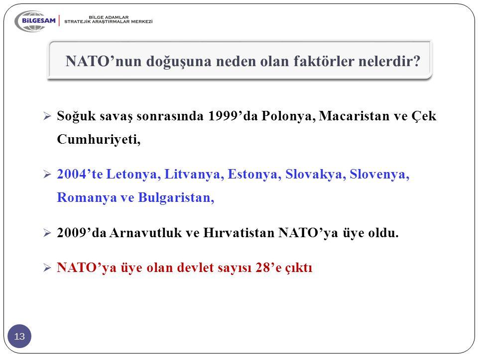 13  Soğuk savaş sonrasında 1999'da Polonya, Macaristan ve Çek Cumhuriyeti,  2004'te Letonya, Litvanya, Estonya, Slovakya, Slovenya, Romanya ve Bulga