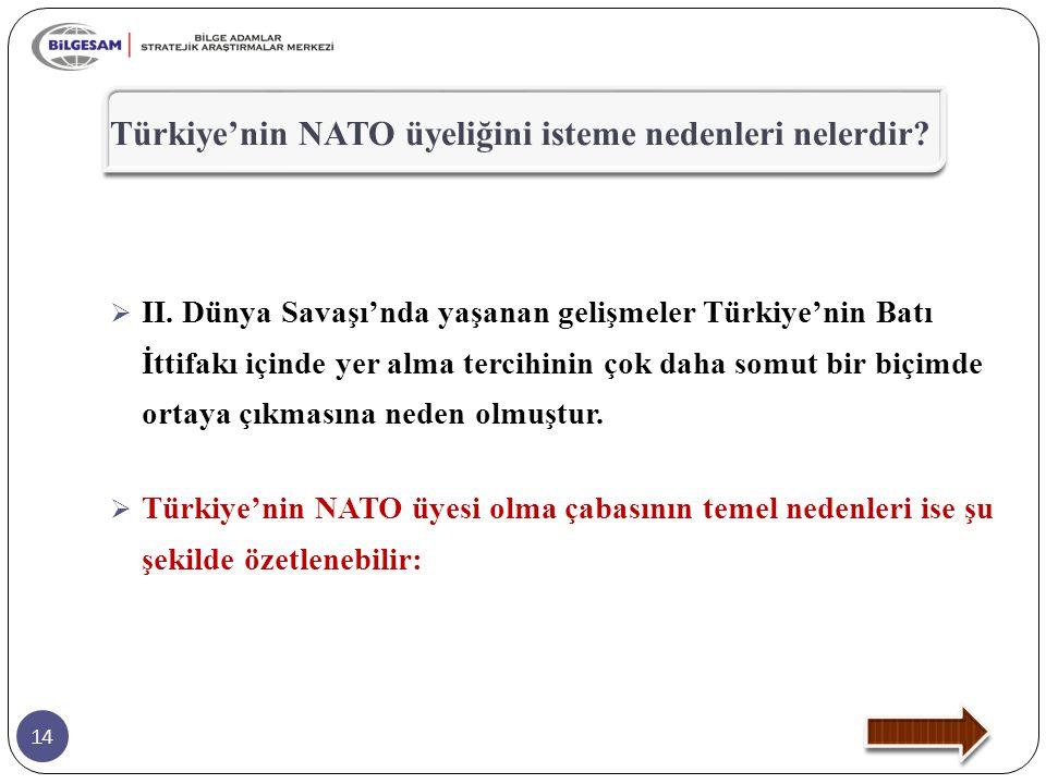 14  II. Dünya Savaşı'nda yaşanan gelişmeler Türkiye'nin Batı İttifakı içinde yer alma tercihinin çok daha somut bir biçimde ortaya çıkmasına neden ol