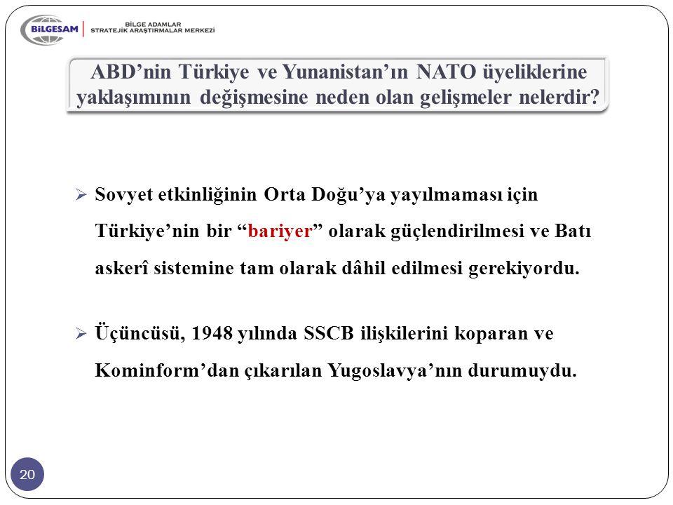 20 ABD'nin Türkiye ve Yunanistan'ın NATO üyeliklerine yaklaşımının değişmesine neden olan gelişmeler nelerdir?  Sovyet etkinliğinin Orta Doğu'ya yayı