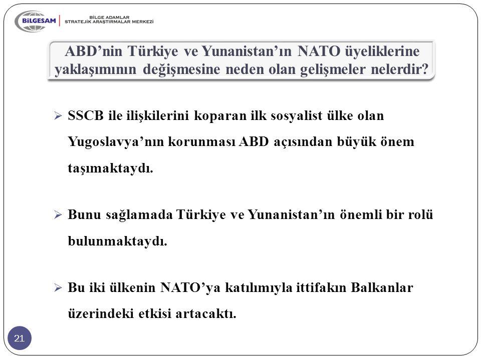 21 ABD'nin Türkiye ve Yunanistan'ın NATO üyeliklerine yaklaşımının değişmesine neden olan gelişmeler nelerdir?  SSCB ile ilişkilerini koparan ilk sos